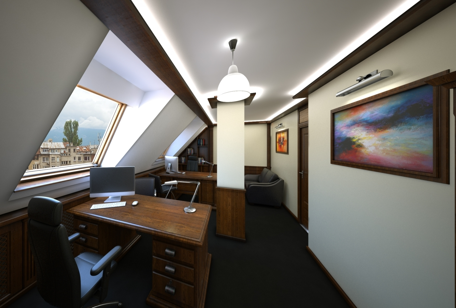Sharp Contrast 3d realistic visualizations interior office law firm