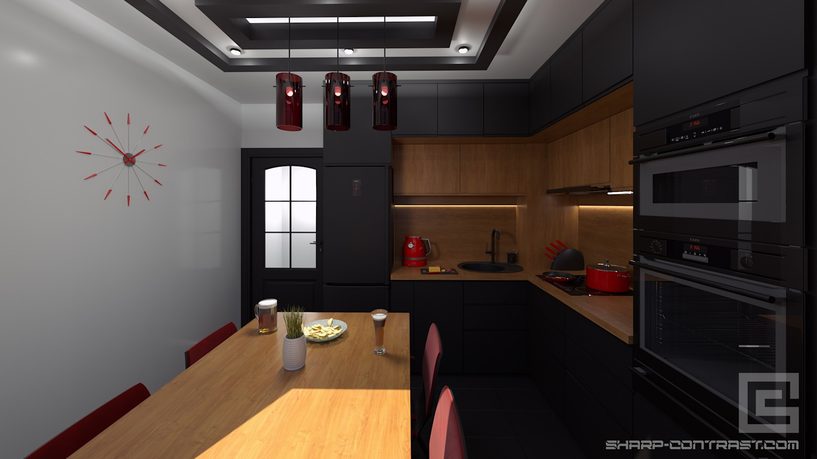 Sharp Contrast 3d realistic visualizations interior residential kitchen
